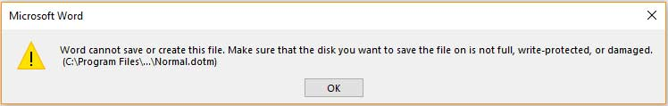 Word cannot save or create this file